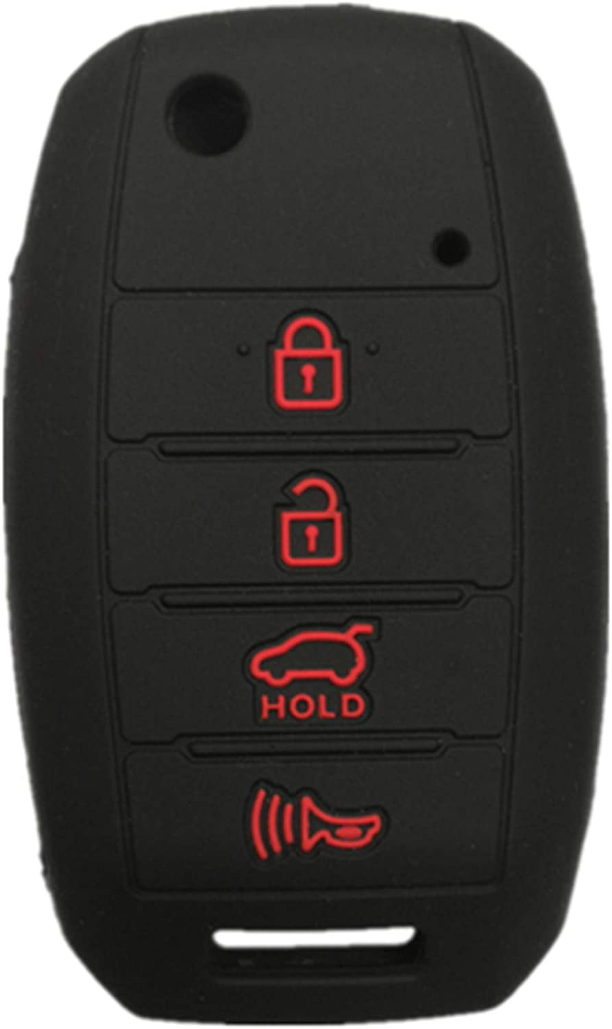 RUNZUIE Silicone Keyless Entry Remote Flip Key Fob Cover Case Protector Shell Fit for Kia Soul Optima Sorento Rio Forte Rio Sportage Black with Red 4 Buttons