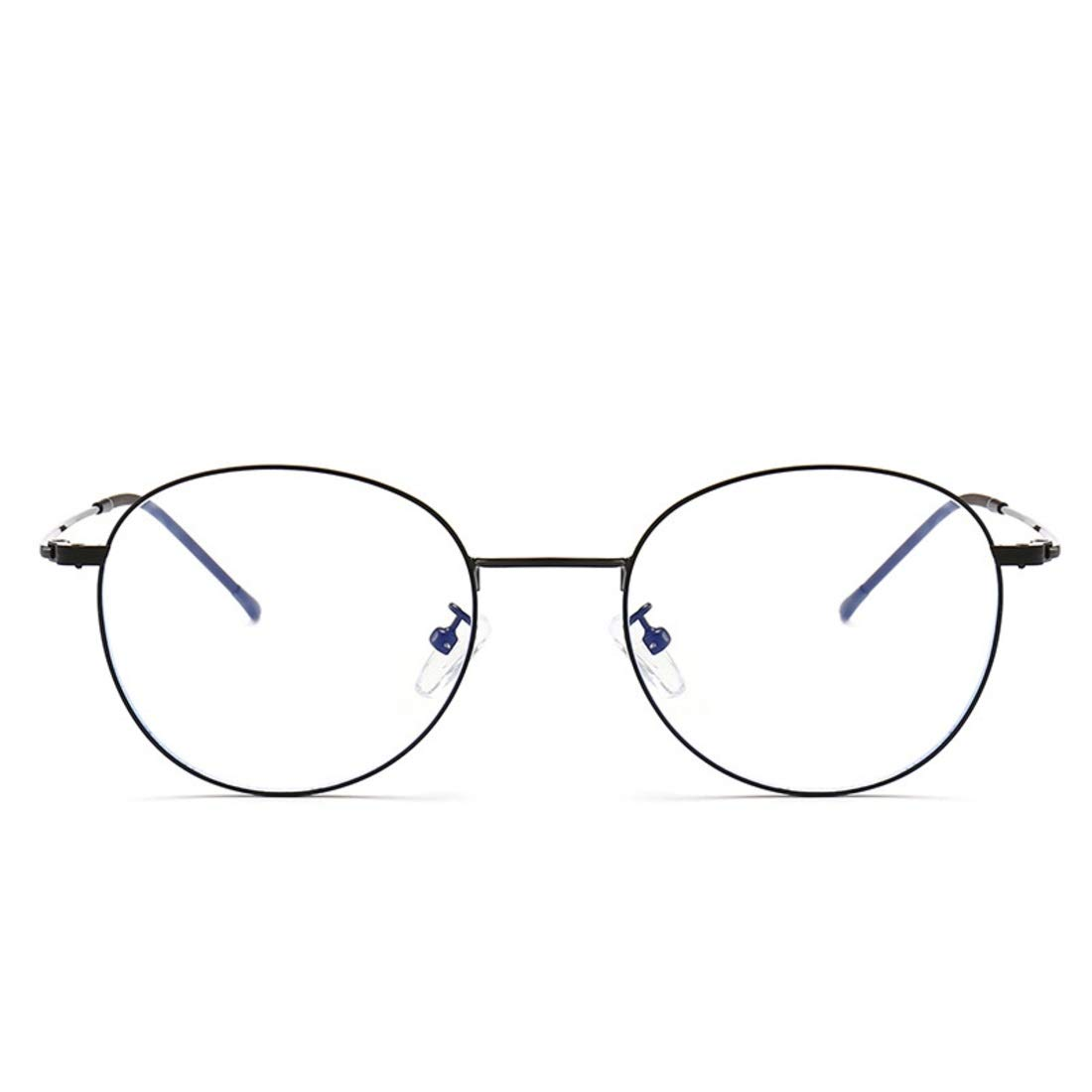 Ovesuxle Occhiali da Vista tondi in Metallo Anti-Blu Occhiali da Vista per Donna Uomo Color : Gold