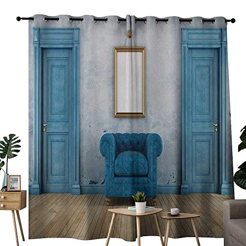 Antique Insulated Sunshade Curtain Empty Room with Two Doors Armchair and Simple Mirror with Golden Color Frame for Living, Dining, Bedroom (Pair) W108 x L96 Blue Sand Brown