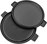 : Utopia Kitchen Pre Seasoned Reversible Cast Iron Pizza Pan Grill and Griddle with Dual Handle Black, 13.5 -inch