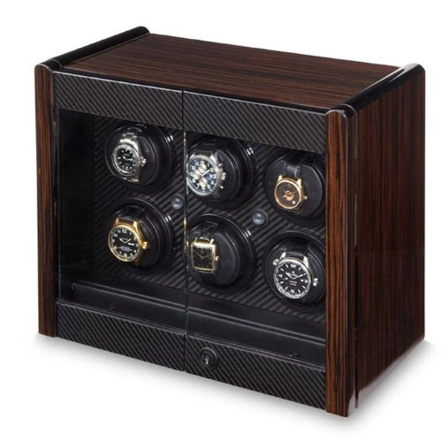 - Orbita Avanti 6 Convertible 6-Watch Winder - Macassar w/Carbon Fiber Trim W70001