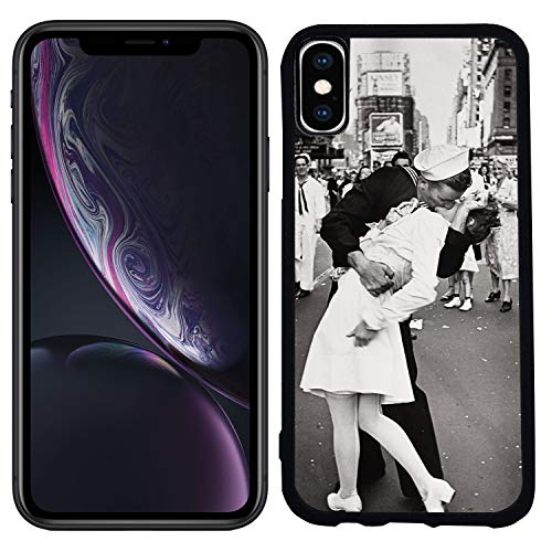 [TeleSkins] - Rubber TPU Case for iPhone XR 6.1 inch (2018) - Times Square Kiss Sailor Kissing Nurse Ww2 - Ultra Durable Slim Fit, Protective Plastic with Soft Rubber TPU Snap On Back Case/Cover.
