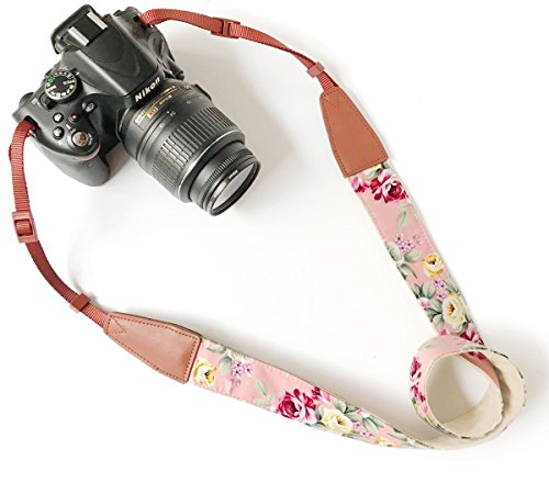 Camera Neck Shoulder Belt Strap,Alled Leather Vintage Print Soft Camera Straps for Women/Men for DSLR/SLR/Nikon/Canon/Sony/Olympus/Samsung/Pentax/Fujifilm (Leather Pink Print)