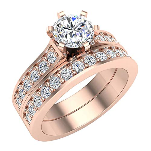 - Round Brilliant Cathedral Accented Diamond Wedding Ring Set 1.10 carat total weight 14K Rose Gold (Ring Size 5)