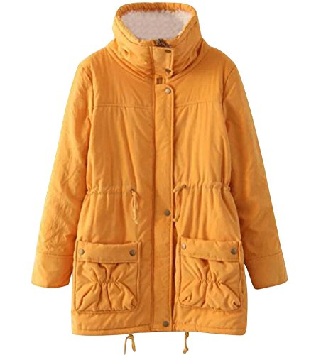 ACE SHOCK Winter Coats for Women Plus Size, Faux Fur Lined Parka Jackets Long Warm 12 Colors XS-2X (Regular US X-Large, Yellow)