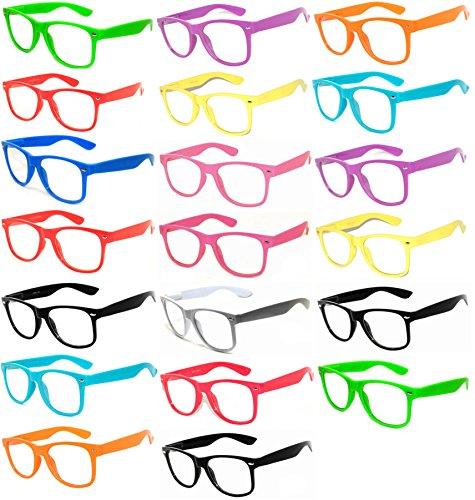 20-Pieces-Per-Case-Wholesale-Lot-Clear-Lens-Glasses-Assorted-Colored-Frame-Fashion-Glasses-Bulk-Glasses-Wholesale-Bulk-Nerdy-Party-Glasses-Party-Supplies