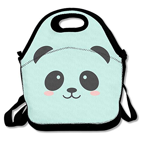 Panda Bear Kids Coloring Insulated Lunch Bag - Neoprene Lunch Bag - Large Reusable Lunch Tote Bags For Women, Teens, Girls, Kids, Baby, Adults Portable Carry -