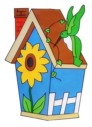 Birdhouse & Sunflower Hummingbird House Flag Applique Embroidered Banner (Hummingbird Banner)