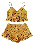 SweatyRocks Women's Boho Floral Print Lace up 2 Piece Crop Cami and Shorts Set Yellow S
