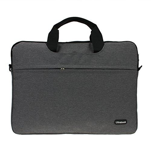 Slim Compact Lightweight 15 inch Adjustable Strap Computer Laptop/Notebook/Tablet/MacBook/iPad Handbag Messenger Shoulder Bag Business Briefcase Travel School Carrying Sleeve Case Tote (Gray 15'')