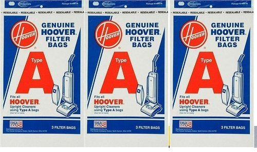 Hoover 4010001A Type A Vacuum Bags, 9 Bags by Hoover (Hoover 4010001a)
