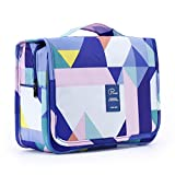EVATECH Hanging Toiletry Bag,Portable Travel Cosmetic Bag Waterproof Makeup Bag Organizer Travel Toiletry Bag Women and Men Dopp Kit for Camping Vacation Travel Accessories with Study Hook(Geometry)