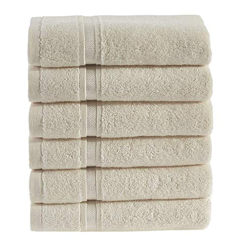 Hammam Linen Premium Organic Turkish Cotton Wash Cloth 6-Pack, 13″x13″, Sea Salt, Washcloth