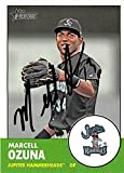 Marcell Ozuna autographed baseball card (Marlins Hammerheads Now St Louis Cardinals star) 2012 Topps Heritage #122