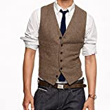 Brightmenyouth Brown Wool Herringbone Groom Vests Formal Grooms Wear Suit Vest Mens Wedding Tuxedo Waistcoat Plus Size