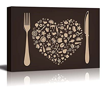 Canvas Prints Wall Art - Restaurant and Food Elements with Fork and Knife | Modern Wall Decor/Home Art Stretched Gallery Wraps Giclee Print & Wood Framed. Ready to Hang - 32