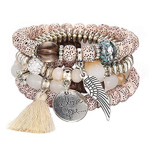Windoson Multi-strand Bracelet for Men Women Opal Beaded Tribal Wristband Wrap Tassel Bracelet (Beige)
