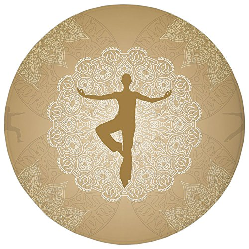 Round Rug Mat Carpet,Yoga,Authentic Mandala Inspired Composition Man Posture Asana Meditation Print Decorative,Sand Brown Gold White,Flannel Microfiber Non-slip Soft Absorbent,for Kitchen Floor Bathro - Asana Sink