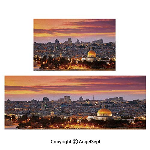 Indoor Outdoor Floor Mats 2piece Suit,Ancient Old City Jerusalem Historical Center Israel Twilight View Decorative 16