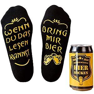 Bier Socken Herren, Bier Geschenk für Männer, WENN DU DAS LESEN KANNST BRING MIR BIER, lustige Socken als…