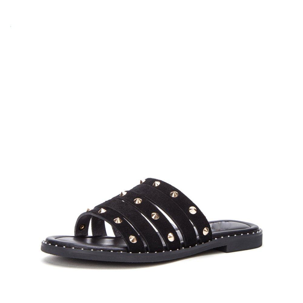 DHG Sandali estivi alla moda, pantofole da donna, sandali con tacco basso e tinta unita,Nero,34