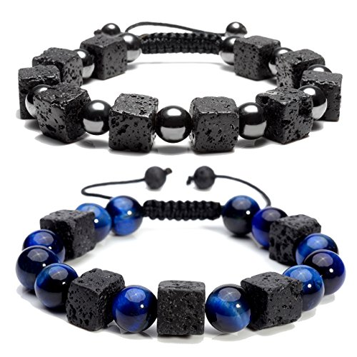 Top Plaza Men Women Aromatherapy Essential Oil Diffuser Adjustable Braided Bracelet Cubic Lava Rock Stone Blue Tiger Eye Magnetic Hematite Beads Bracelet(Set of 2)