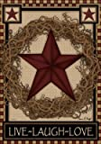 Country Primitive Barn Star Wreath Live Laugh Love Double Sided House Flag