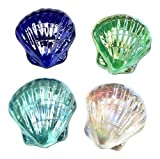 Glass Scallop Shell Decor - Set of 4 Assorted