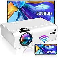 WiMiUS プロジェクター 5200lm 小型 WiFi ホームプロジェクター 1920×1080P最大解像度 HIFIスピーカー ズーム機能 USB/HDMI/AV/VGA対応 スマホ/パソコン/タブレット/ゲーム機/DVDなど接続可能