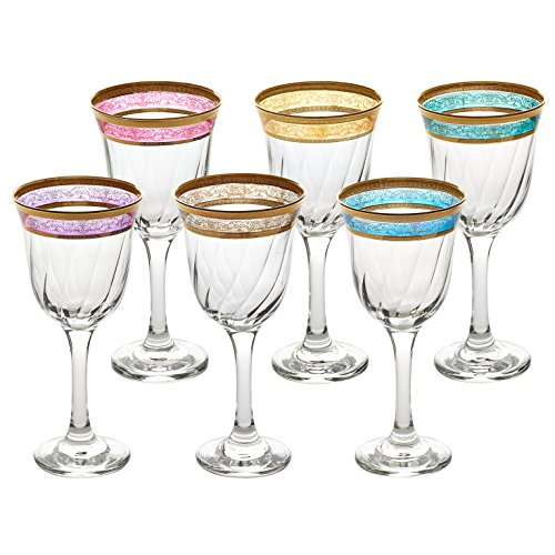 - Lorren Home Trends 9427 White Wine Melania Collection Bowl, Set of 6, Multicolored