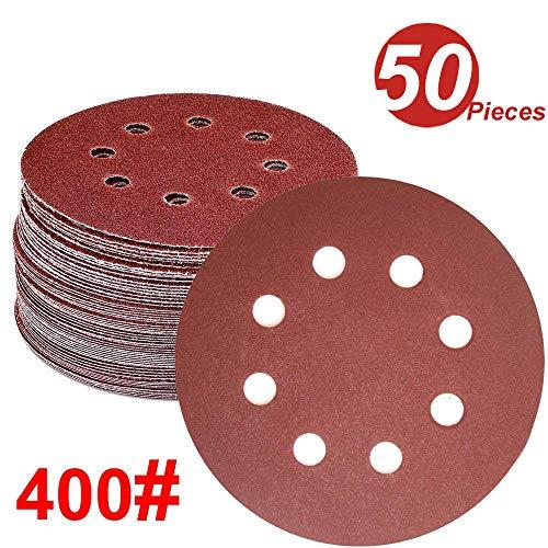 WINGONEER 50PCS Sanding Discs Pads, 5-Inch 8-Hole 400-Grit Hook and Loop Aluminium Oxide Sandpaper for Random Orbital Sander