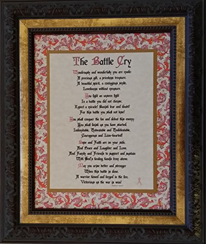 The Battle Cry - w/pink ribbon - Framed Inspirational Message - Gift for Breast Cancer Patient or - Ribbon Framed Pink