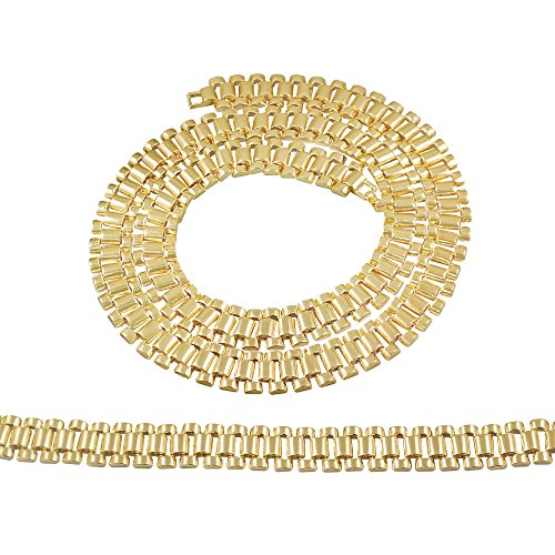 14kt Yellow Gold Mens Watch - Gold-Tone Mens Classic Watch Style Link Designer Chain and Bracelet Set 30