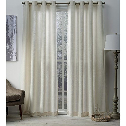 Exclusive Home Curtains Sparkles Heavyweight Metallic Fleck Textured Linen Window Curtain Panel Pair with Grommet Top, 54x84, 2 Piece