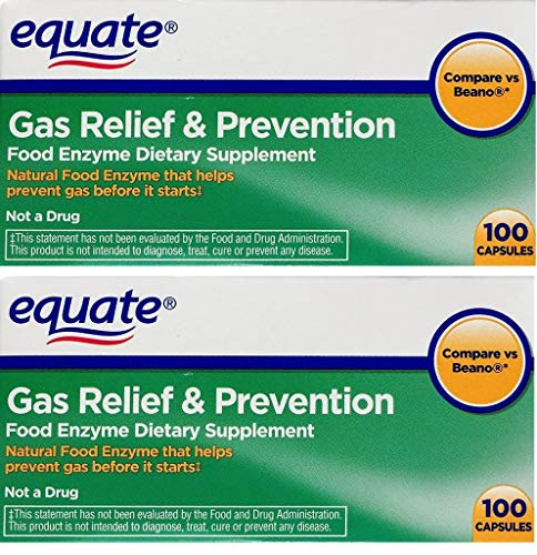 2 Pack of Equate Gas Relief & Prevention Food Enzyme Dietary Supplement ,200ct, Compare to Beano
