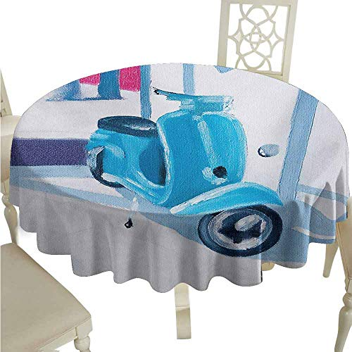 duommhome Country Oil-Proof Tablecloth Mini Scooter in Soft Mediterranean Mid Day Italian Town Life Symbol Art Paint Print Easy Care D47 Blue Grey (Turquoise Scooter Clamp)