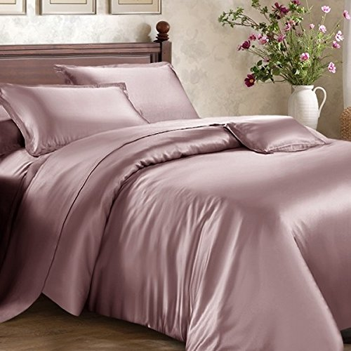 Roch Linen Hotel Quality Silky Soft Luxurious Satin 7 Pc Sheet Set Wrinkle & Fade Resistant, Hypoallergenic Breathable Durable Comfort Bedding Set With Duvet Set !!!Queen, Dusty - Satin Queen Set Comforter
