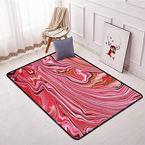 - Outdoor Patio Rug,Marble,Colorful Artistic Wavy Lines in Vivid Tones Crystallized Style Abstract Picture,Easy Clean Rugs,4'11