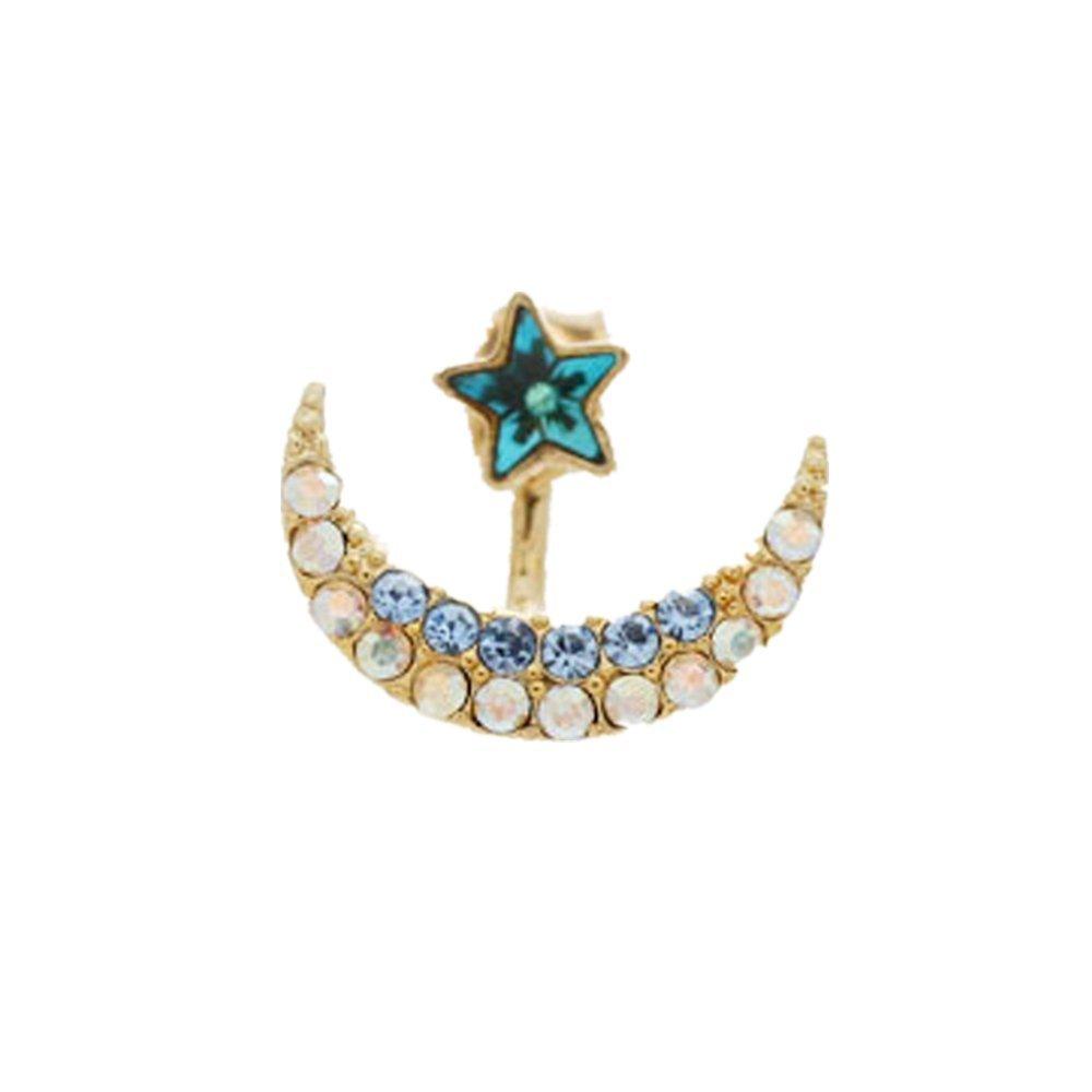 Whyyudan Fashion Decoration Ornament Women's Alloy Earrings Moon Five-pointed Star Full Diamond Plated Stud Earring Earrings_ Green