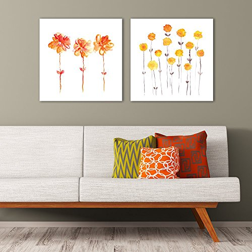 2 Panel Square Minimalism Style Watercolor Flowers on White Background x 2 Panels