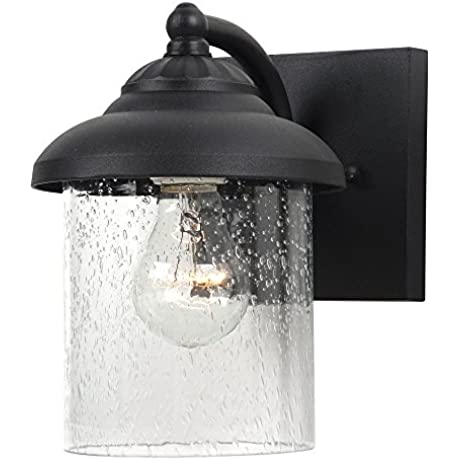 Sea Gull Lighting 84068 12 Lambert Hill One Light Outdoor Wall Lantern With Clear Seeded Glass Shade Black Finish