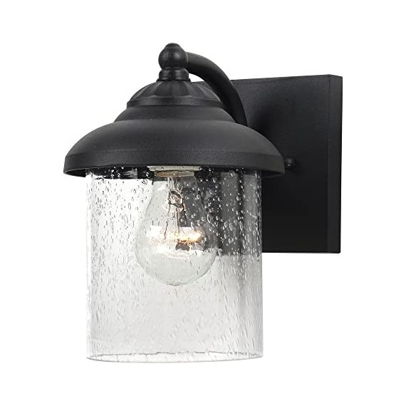 """Sea Gull Lighting 84068-12 Lambert Hill One-Light Outdoor Wall Lantern with Clear Seeded Glass Shade, Black Finish - DIMENSIONS OF OUTDOOR WALL LANTERN: (width x height) 6 x 8 1/4 inches; extends 7 3/4 inches; backplate dimensions (depth x width x height) 3/4 x 5 x 5 inches CLEAR SEEDED GLASS PANEL FOR OPTIMAL ILLUMINATION: these outdoor wall lantern lights have clear seeded glass shades which protect the bulbs without obstructing illumination COMES WITH A 6.5"""" WIRE: you may conveniently install the outdoor wall lanterns as each one comes with a 6.5"""" (16.5 cm) wire that makes installing easy - patio, outdoor-lights, outdoor-decor - 51FscgQOxzL. SS570  -"""