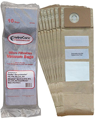 10 Advance Spectrum, Clarke, CarpetMaster, Nilfisk Allergy Vacuum Cleaner Bags + Exhaust & Pre Filters Filters 1471058500, 147 0966 500, 147 0960 5000 Clarke Vacuum Bags