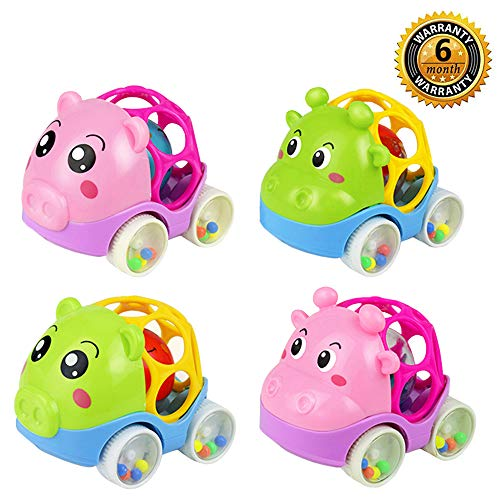 - ZHFUYS Baby Rattle Car, 4.5 inch 3 to 36 Months Toddler Toys ,1 to 3 Year Boys Girls Gifts (4 Pack)