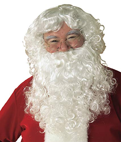 Santa Costumes For Rent (Rubie's Value Santa Beard And Wig Set, White, One)
