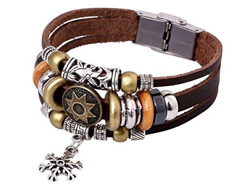 Brass Estate Collection Single (Konalla Snowflake Pendant Multilayer Leather Vintage Beaded Bracelet 7.6