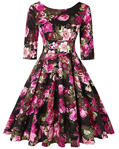 MINTLIMIT 1950s Style 3/4 Sleeve Floral Evening Party Vintage Swing Dresses for Women (Floral Fuchsia,Size L)]()