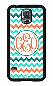 iZERCASE Samsung Galaxy S5 Case Monogram Personalized Colorful Chevron Pattern RUBBER CASE - Fits Samsung Galaxy S5 T-Mobile, Sprint, Verizon and International (Black)