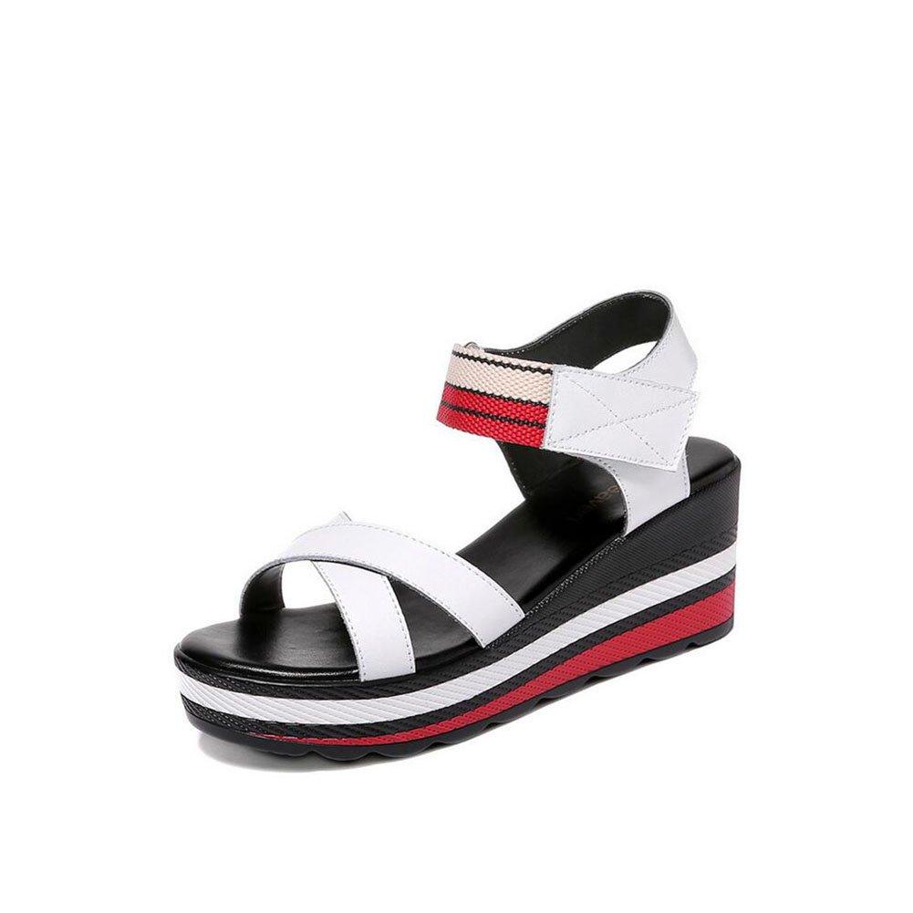 Frauen Sandalen, Frauen Sommer Boho Flachen Sandalen Low Heel Flip Flop Sandalen Strand Schuhe Casual Sandalen fuuml;r Damen Wasserdichte Plattform Plattform Sandalen  37 EU|Wei?