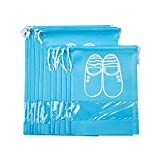 10 Pcs Shoe Travel/Storage Bags, Non-woven Drawstring Shoe Organizer Packing Bags Set, with Clear View Window
